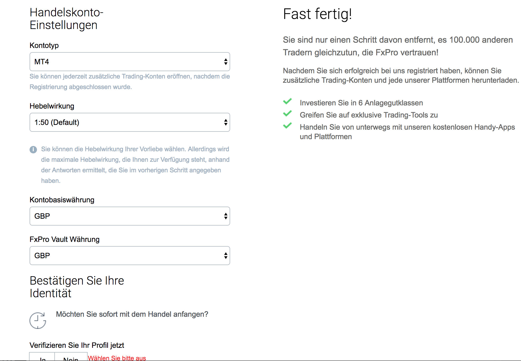 FxPro Konto eröffnen - Schritt 4
