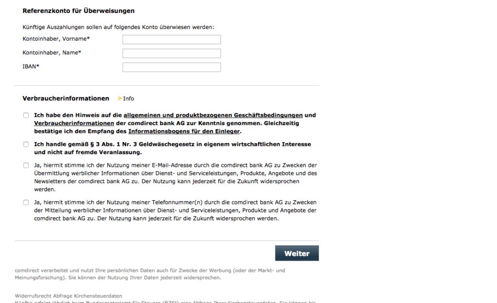 comdirect Depoteröffnung - Schritt 4
