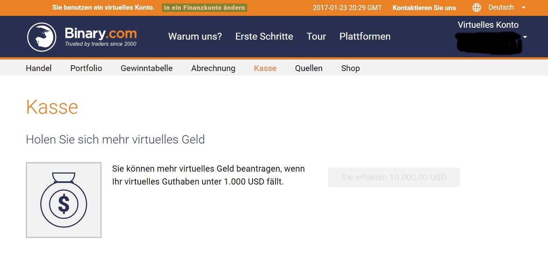 Binary.com Kassenbereich