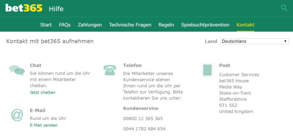 bet365 Kontaktinformationen