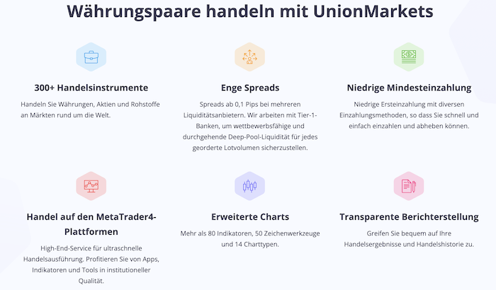 UnionMarkets Vorteile